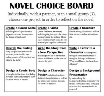 Novel Choice Board - Create, Write, Design