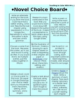 Novel Choice Board: Digital Choices