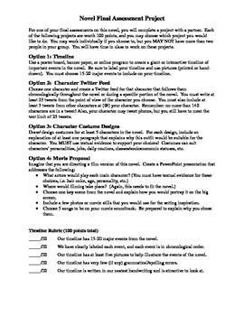 Novel Final Assessment Projects and Rubrics
