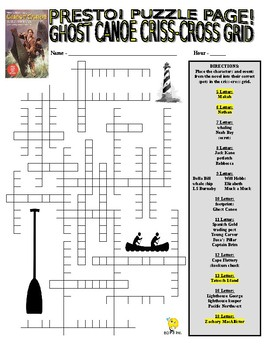 Novel : Ghost Canoe Puzzle Page (Wordsearch and Criss-Cross)