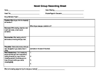 Novel Group Recording Sheet