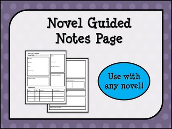 Novel Guided Notes Page