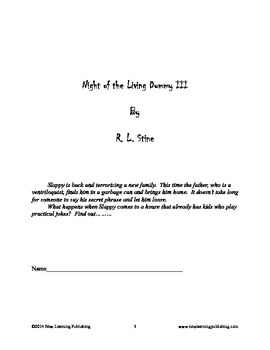 Novel Ideas - R. L. Stine's Goosebumps Night of the Living Dummy III