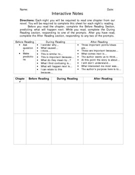 Novel Interactive Notes Worksheet