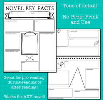 Novel Key Facts Graphic Organizer for ANY Novel