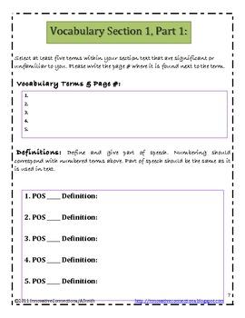 Novel Log Printables: Writing Summaries & Reflections; Vocabulary