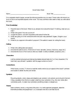 Novel Note Sheet