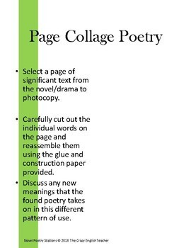 Novel/Poetry Mashup Literacy Stations CCSS