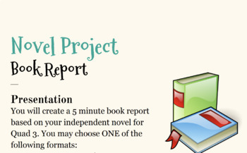 Novel Project: Book Report with Rubric!