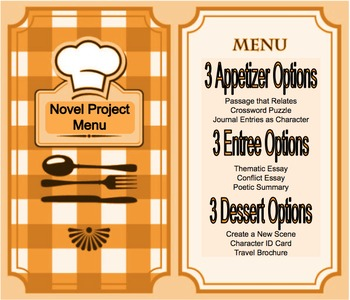 Novel Project Menu - Multiple Learning Styles