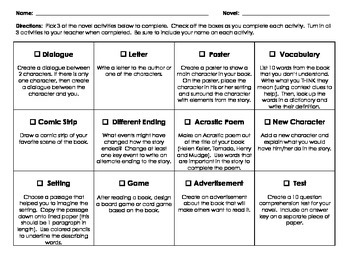 Novel Project Tic Tac Toe Choice Boards