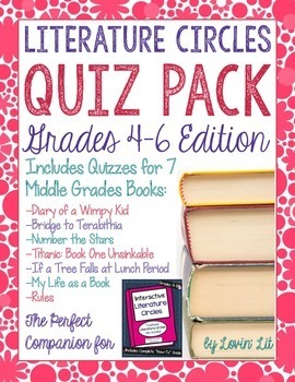 Novel Quiz Pack for 4th-6th Grade Literature Circles Bundle