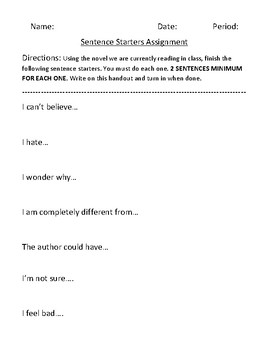 Novel Reader Response Activity