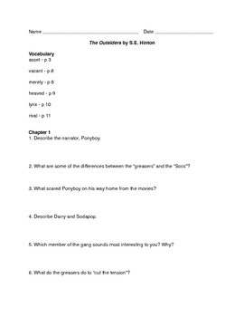The Outsiders: Reading Guides Packet