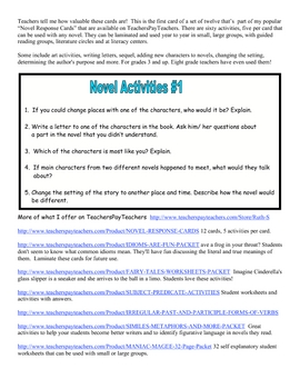 Novel Response Card FREE