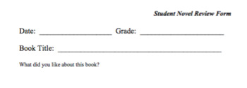 Novel Review Form for Student Reviews