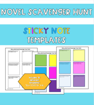 Novel Scavenger Hunt Sticky Note Templates *Use with any novel*