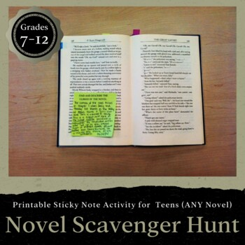 Novel Scavenger Hunt Using Sticky Notes: For ANY Novel