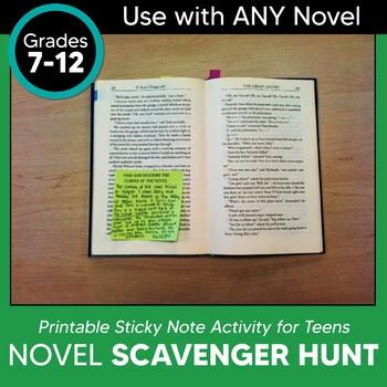 Novel Scavenger Hunt Using Sticky Notes: For ANY Novel