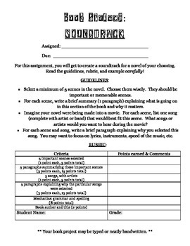 """""""Novel Soundtrack"""" -- Fun Alternative to Traditional Book Reports!"""