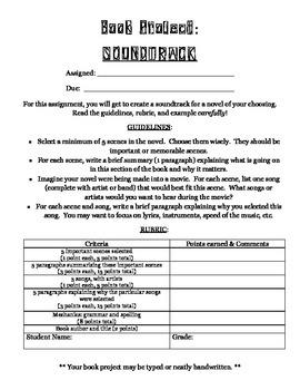 """Novel Soundtrack"" -- Fun Alternative to Traditional Book"