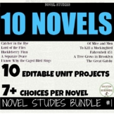 Novel Studies Assessment Bundle GROWING 10 Books Included