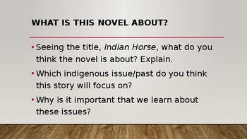Novel Studies Indian Horse All-In-One Lesson PowerPoint