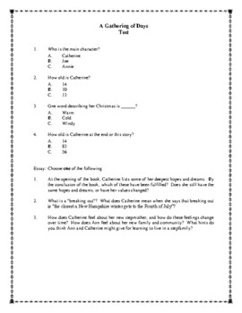Novel Study, A Gathering of Days (by Joan W. Blos) Study Guide