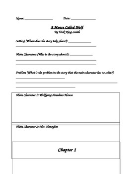 Novel Study - A Mouse Called Wolf - Chapter by Chapter Nov
