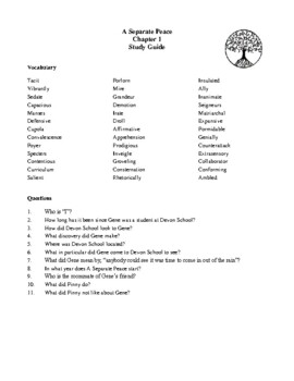 Novel Study, A Separate Peace (by John Knowles) Study Guide