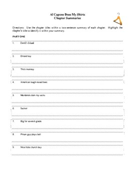 Novel Study, Al Capone Does My Shirts (by Gennifer Choldenko) Study Guide