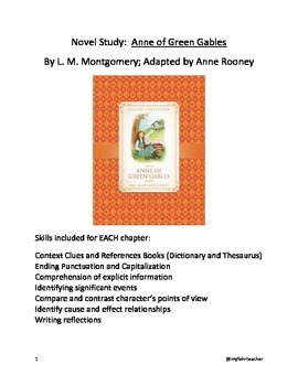 Novel Study: Anne of Green Gables Adapted by Anne Rooney