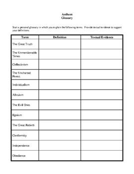 novel study anthem by ayn rand study guide by brilliance builders rh teacherspayteachers com Anthem Ayn Rand Society Anthem Ayn Rand Movie