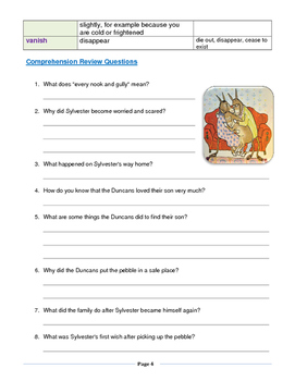 Novel Study Assessment Pack -- Sylvester and the Magic Pebble By William Steig