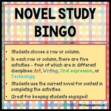 Novel Study BINGO Board