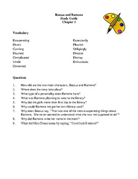 Novel Study, Beezus and Ramona (by Beverly Cleary) Study Guide