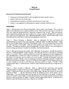 Novel Study, Beloved (by Toni Morrison) Study Guide