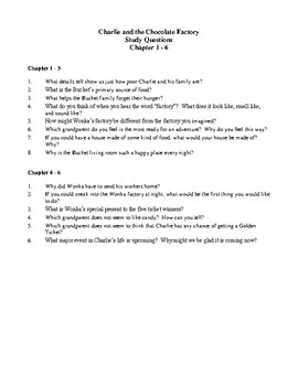 Novel Study, Charlie and the Chocolate Factory (by Roald Dahl) Study Guide