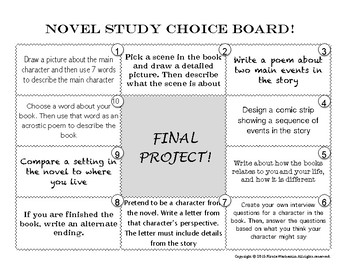 Novel Study: Choice Board