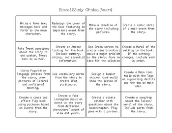 Novel Study Choice Board