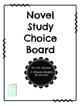 Novel Study Choice Board FREEBIE