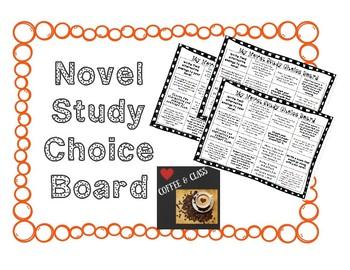 Novel Study Choice Board for ANY Novel