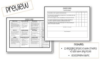 Novel Study Choice Grid - Engaging Projects for Any Novel!