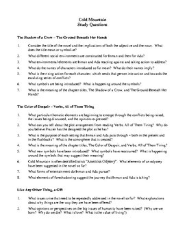 Novel Study, Cold Mountain (by Charles Frazier) Study Guide