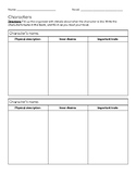 Novel Study Comprehension Packet with Characters, Setting,