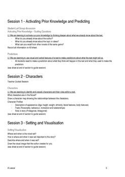 Novel Study - Comprehension Strategies and Teacher Guided Workshops EDITABLE