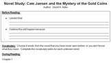Novel Study Contract: Cam Jansen and the Mystery of the Gold Coins