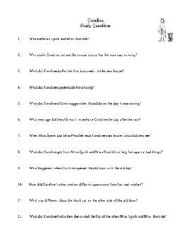 Novel Study, Coraline (by Neil Gaiman) Study Guide