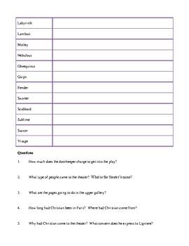 Novel Study, Cyrano de Bergerac (by Edmond Rostand) Study Guide