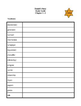 Novel Study, Daniel's Story (by Carol Matas) Study Guide